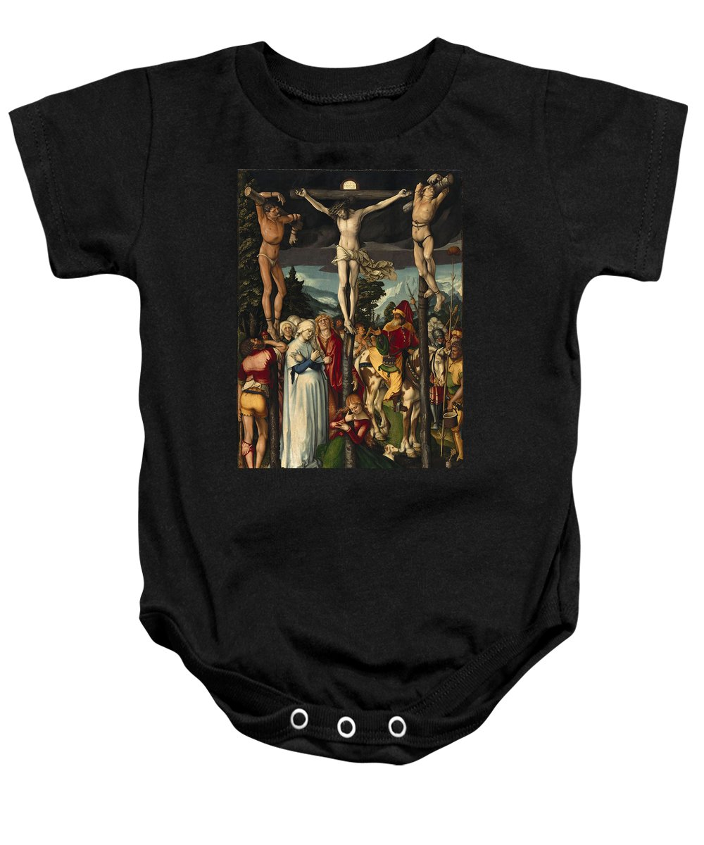 Hans Baldung Grien Baby Onesie featuring the painting The Crucifixion Of Christ by Hans Baldung Grien