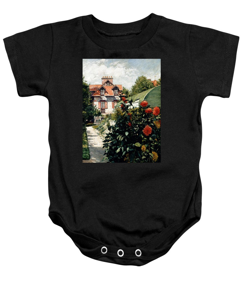 House Baby Onesie featuring the painting The Dahlias Garden At Petit Gennevilliers by Gustave Caillebotte