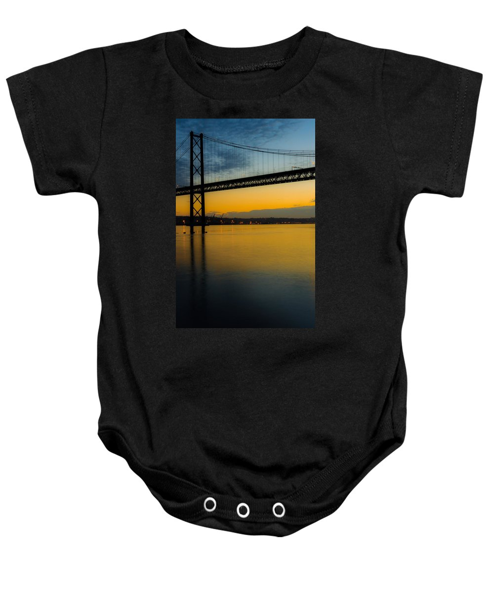 25 April Bridge Baby Onesie featuring the photograph The Dawn Of Day II by Marco Oliveira