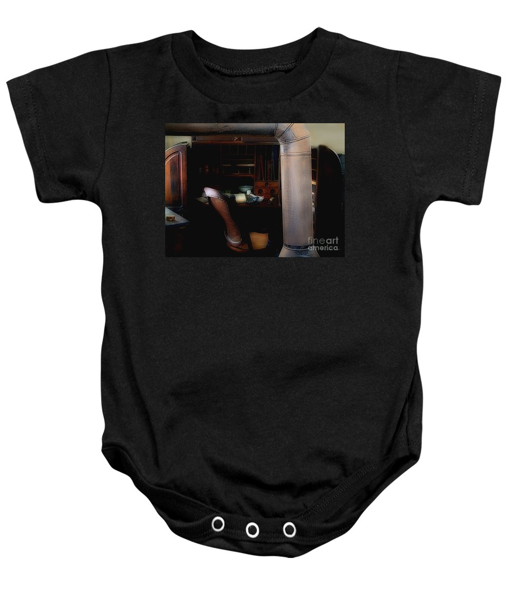 Antiques Baby Onesie featuring the painting The Doctor Is Out by RC DeWinter