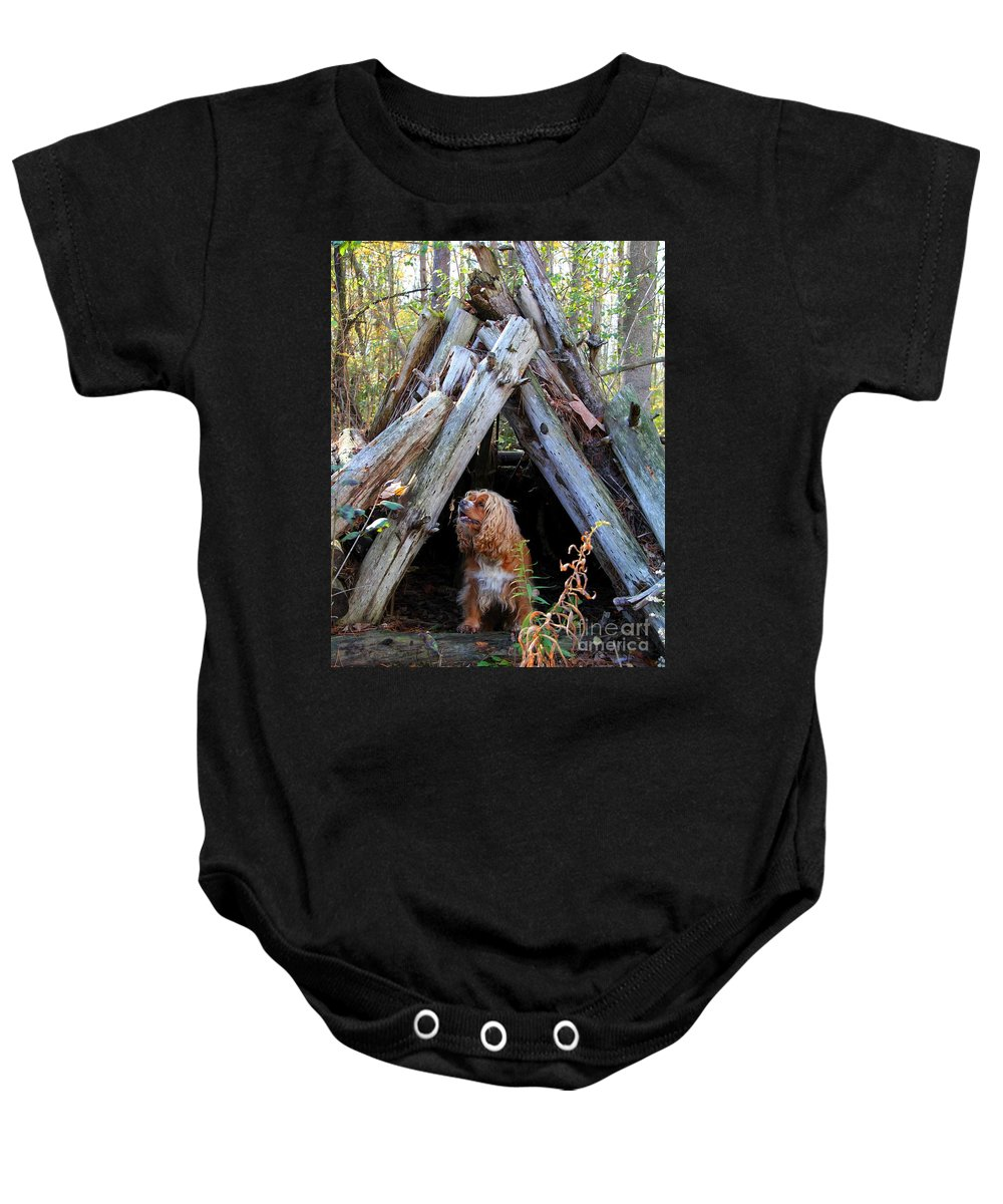 Dog Baby Onesie featuring the photograph The Dog In The Teepee by Davandra Cribbie