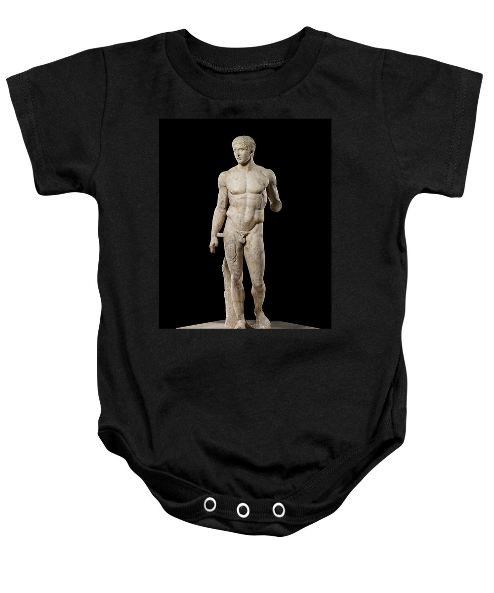 The Doryphoros Of Polykleitos Baby Onesie featuring the photograph The Doryphoros Of Polykleitos by Roman School