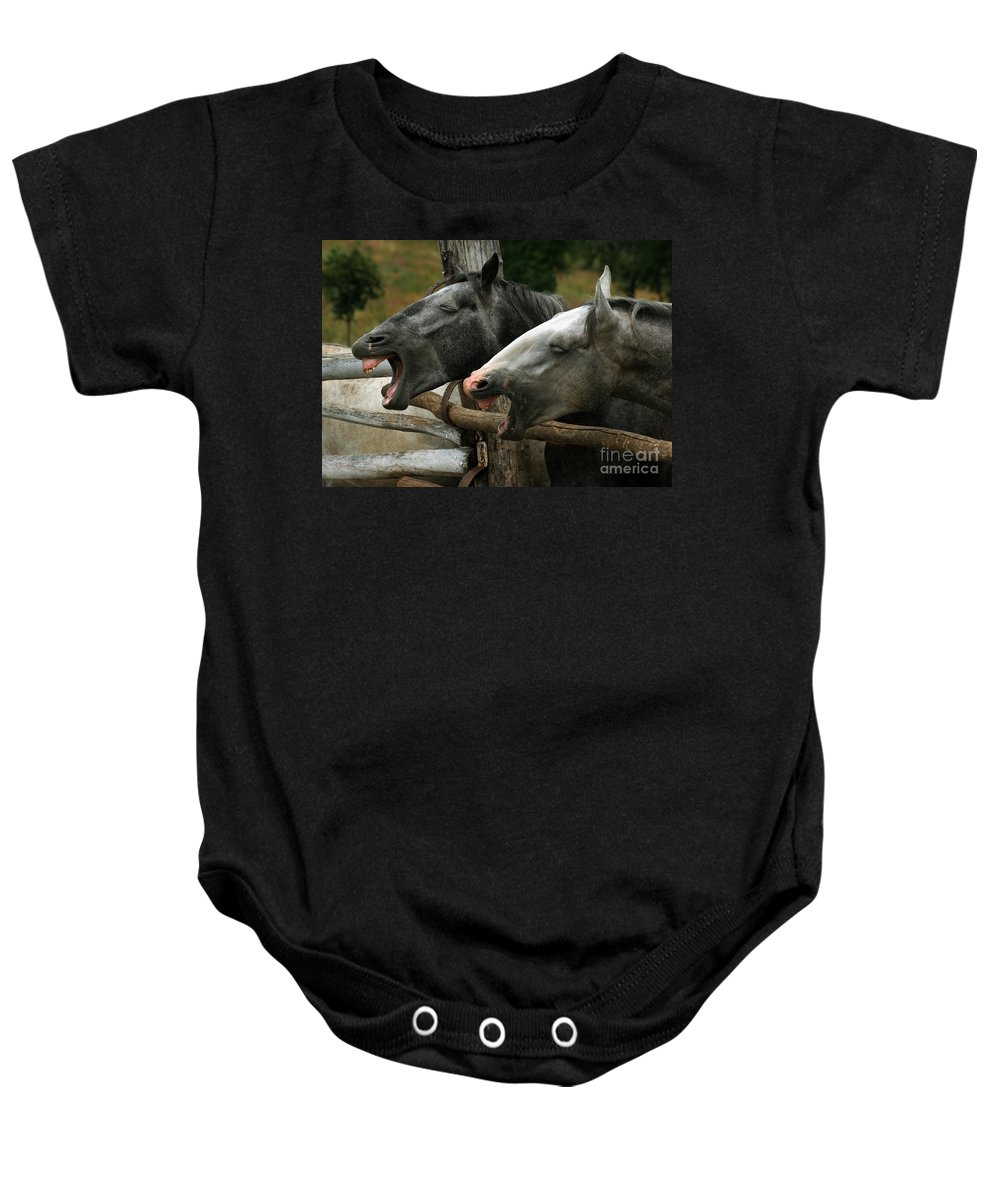 Horses Baby Onesie featuring the photograph the double Yawn by Angel Tarantella