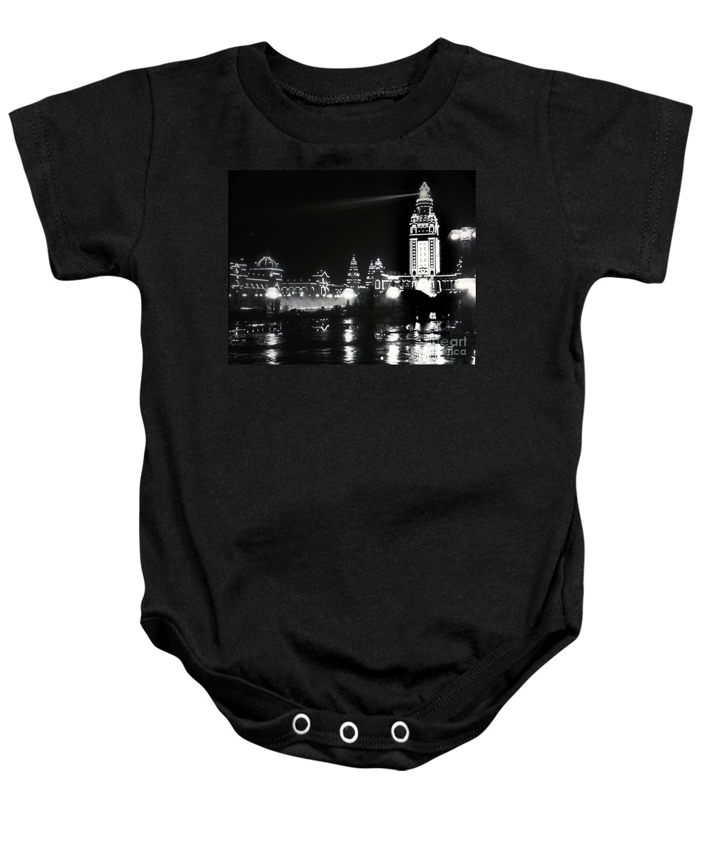Electric Baby Onesie featuring the photograph The Electric Tower Pan American Exposition Buffalo New York 1901 by California Views Archives Mr Pat Hathaway Archives