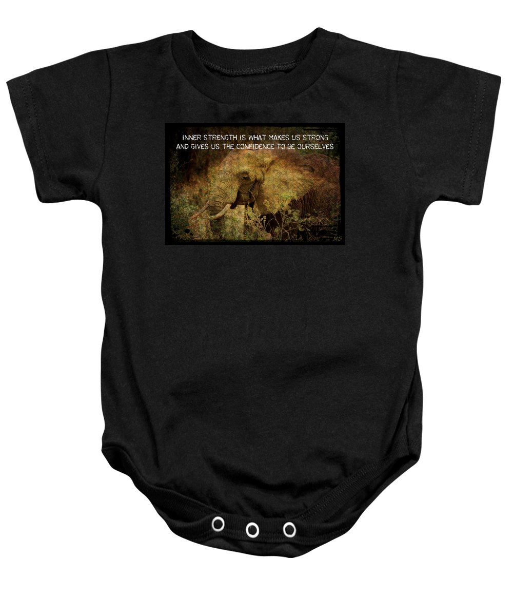 Elephant Baby Onesie featuring the digital art The Elephant - Inner Strength by Absinthe Art By Michelle LeAnn Scott
