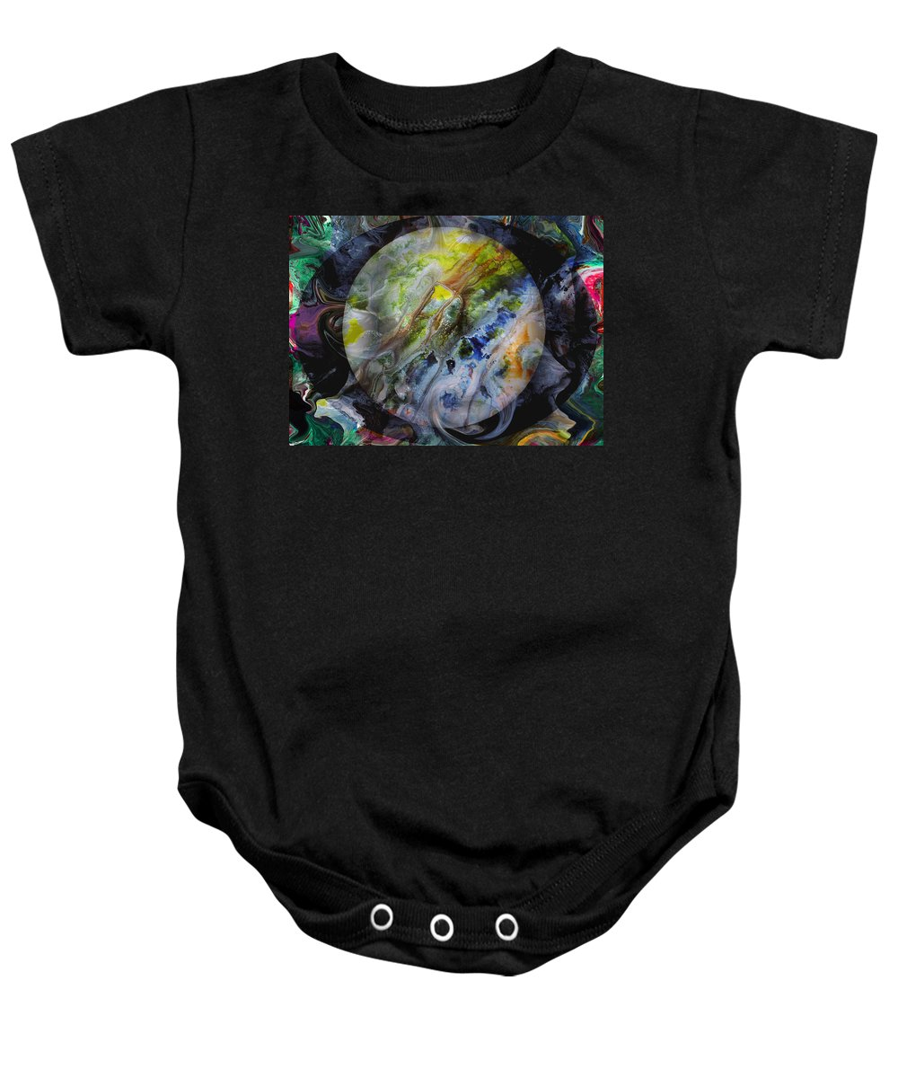 Surrealism Baby Onesie featuring the digital art The Eye Of Silence by Otto Rapp