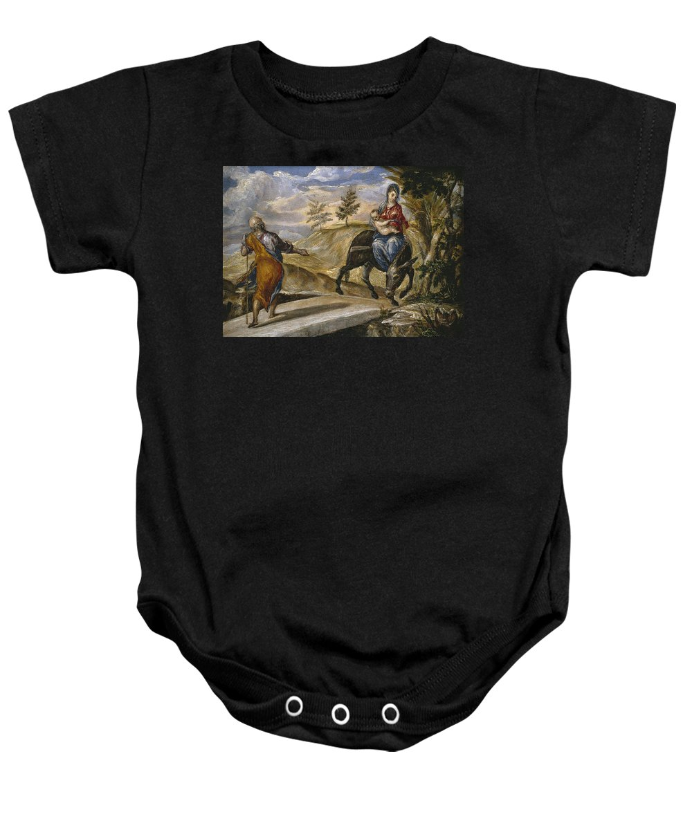 El Greco Baby Onesie featuring the painting The Flight Into Egypt by El Greco