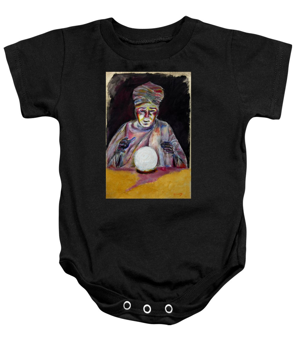Fortune Tellers Baby Onesie featuring the painting The Fortune Teller by Tom Conway