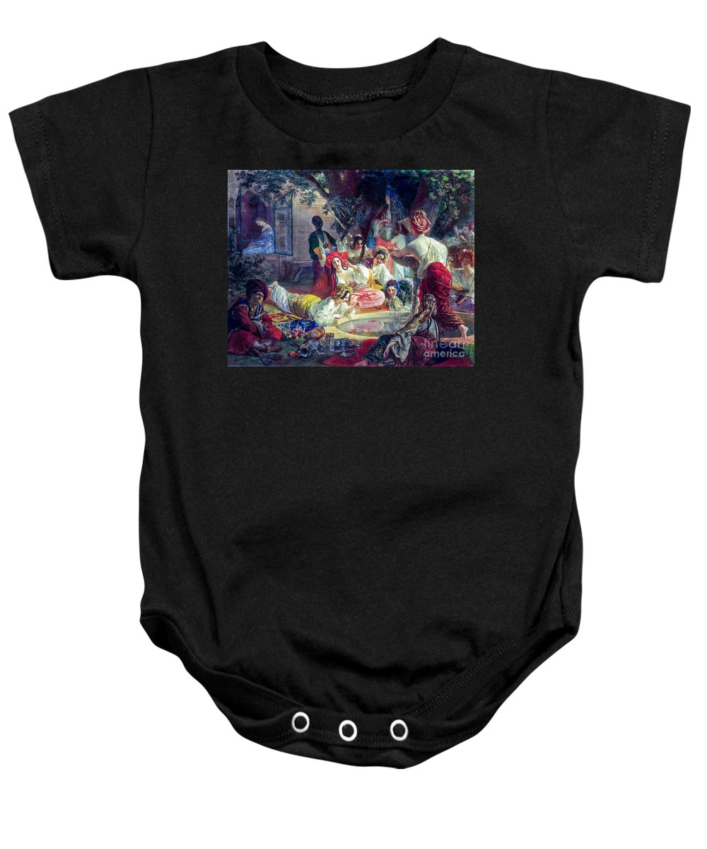 Man Baby Onesie featuring the painting The Fountain Of Bakhchisarai by Viktor Birkus