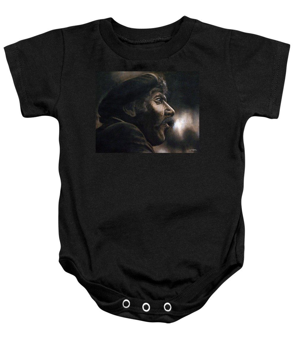 Portrait Baby Onesie featuring the pastel The Frenchman by Bill Stephens