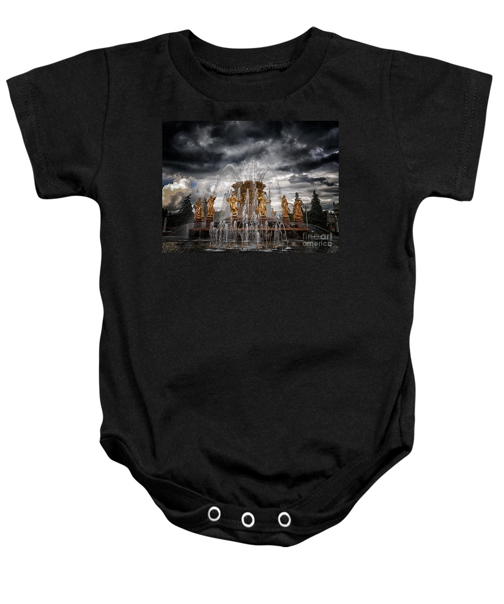 Achievements Baby Onesie featuring the photograph The Friendship Fountain Moscow by Stelios Kleanthous