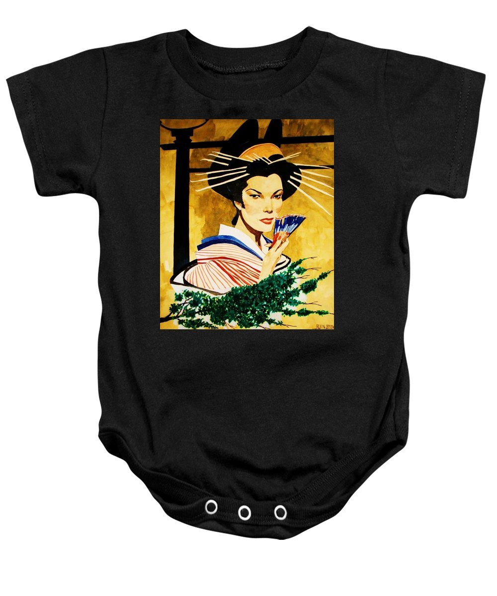 Portraits Baby Onesie featuring the painting The Geisha by Al Brown