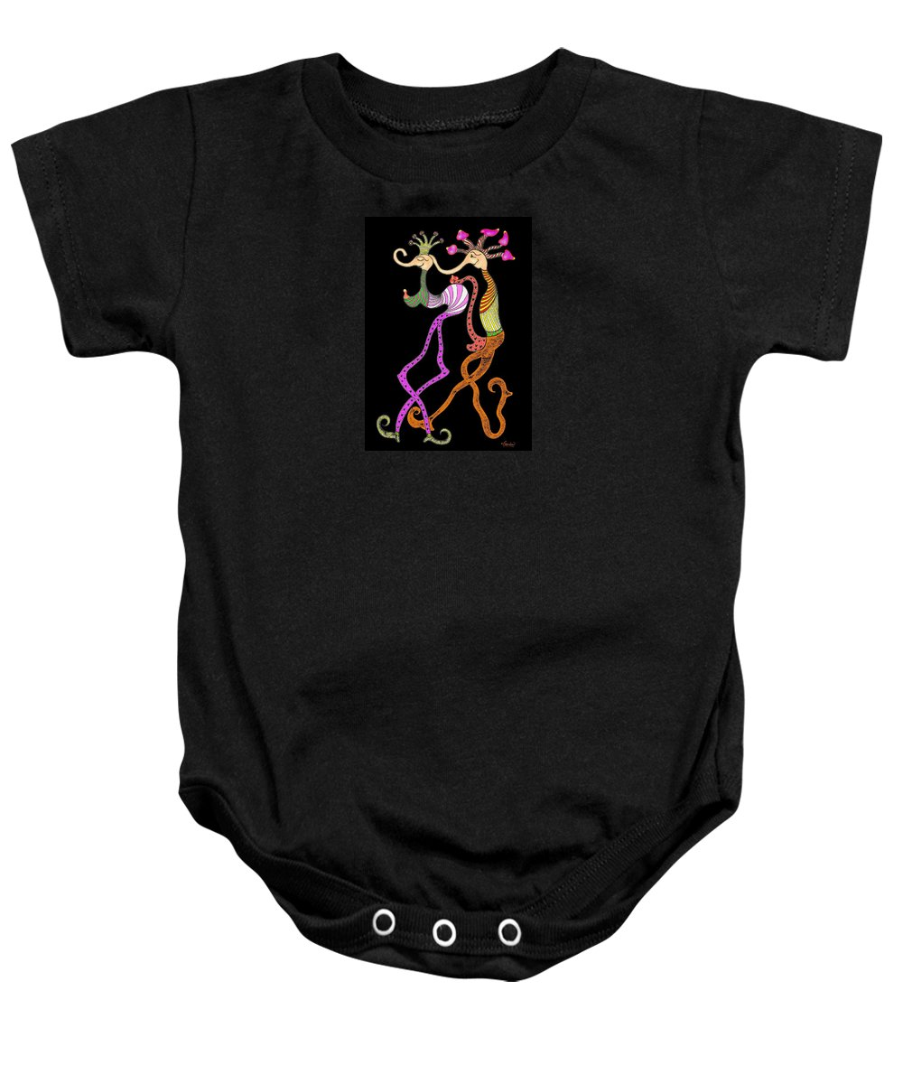 Genia Baby Onesie featuring the drawing The Giddy Follower by Genia GgXpress