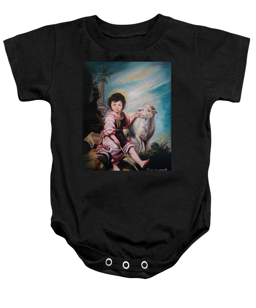 Classic Art Baby Onesie featuring the painting The Good Shepherd by Silvana Abel