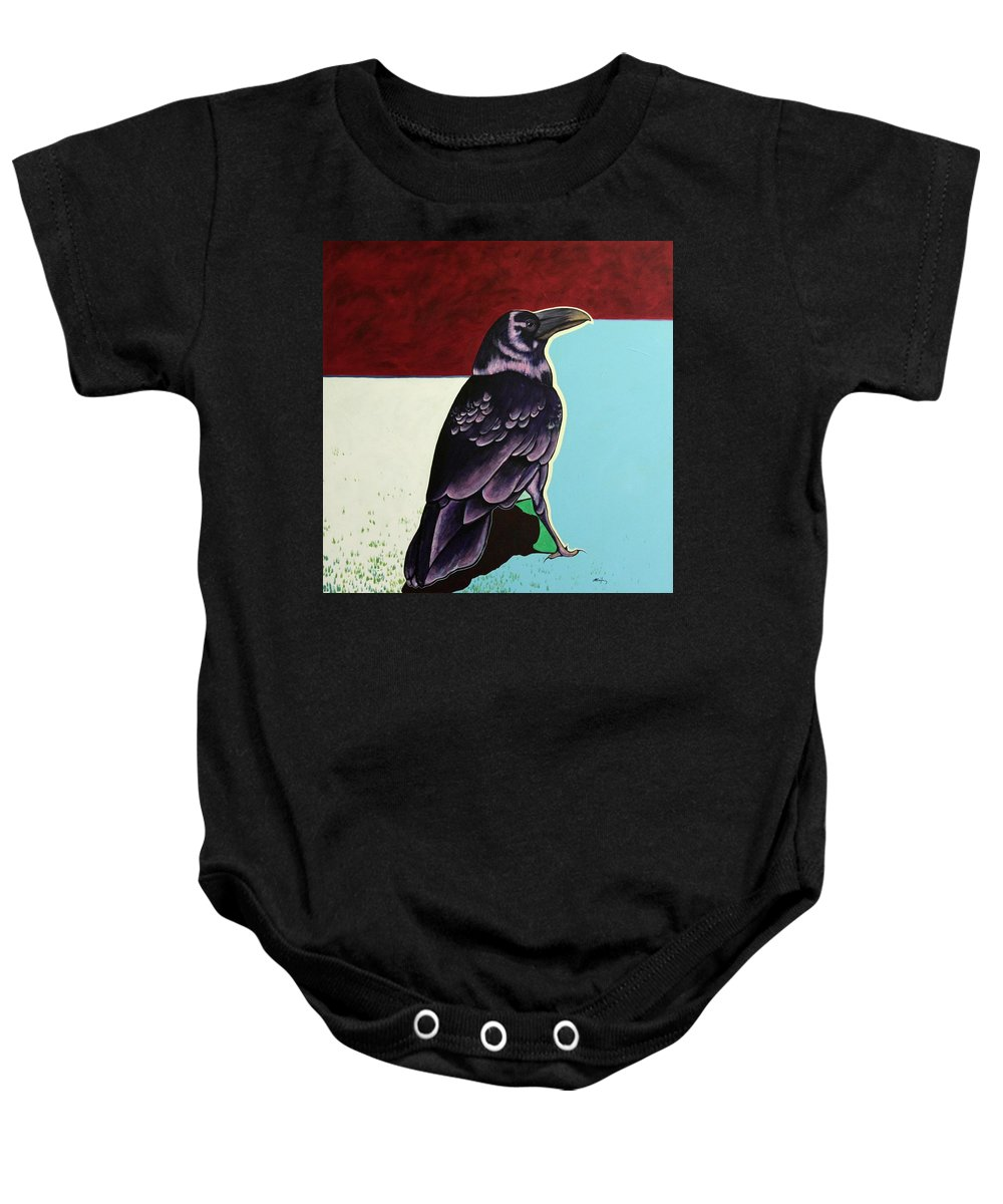 Wildlife Baby Onesie featuring the painting The Gossip - Raven by Joe Triano
