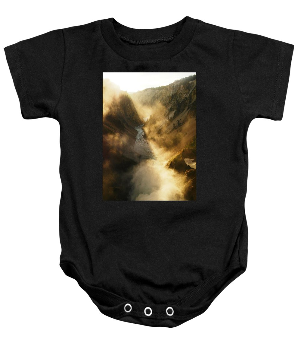 Views Baby Onesie featuring the photograph The Grand Canyon Of Yellowstone by Jeff Swan