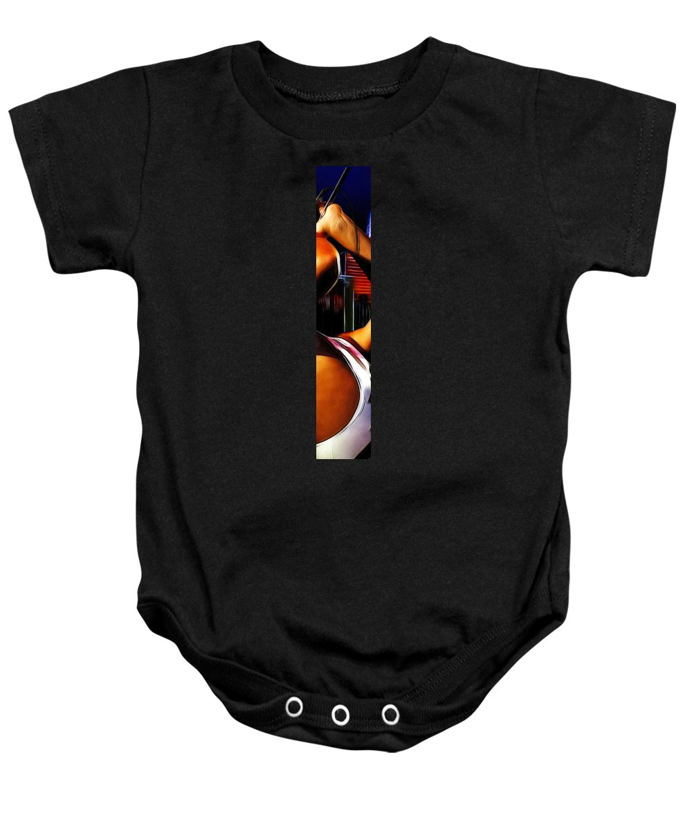 Rock Music Freddie Mercury Queen Famous Band 80s 70s 90s Star Song Songwriter Baby Onesie featuring the painting The Great Pretender 3 by Steve K