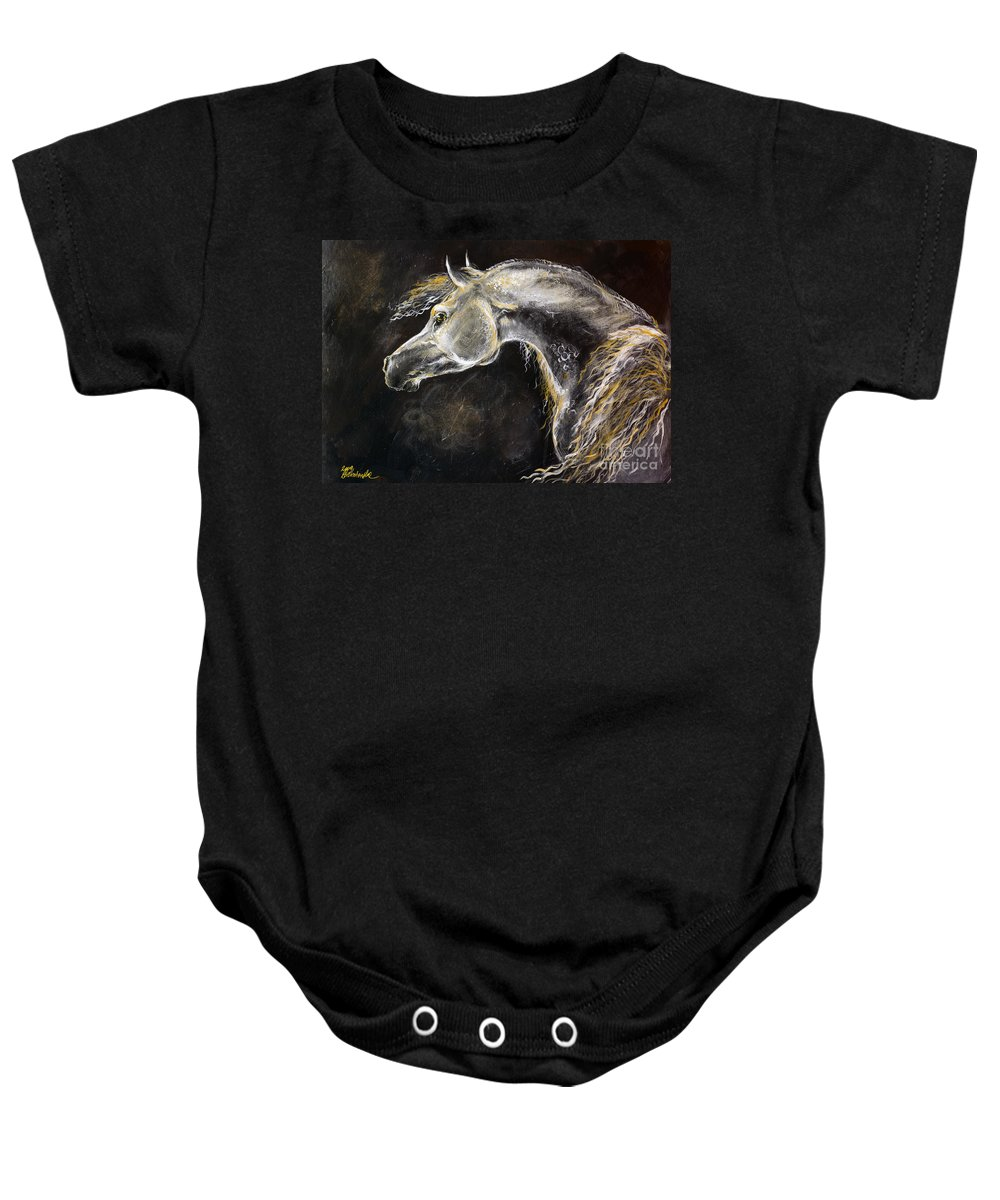 Horse Baby Onesie featuring the painting The Grey Arabian Horse 9 by Angel Ciesniarska