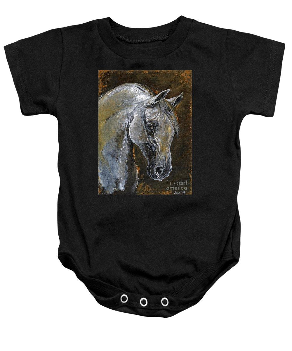Grey Horse Baby Onesie featuring the painting The Grey Arabian Horse Oil Painting by Angel Ciesniarska