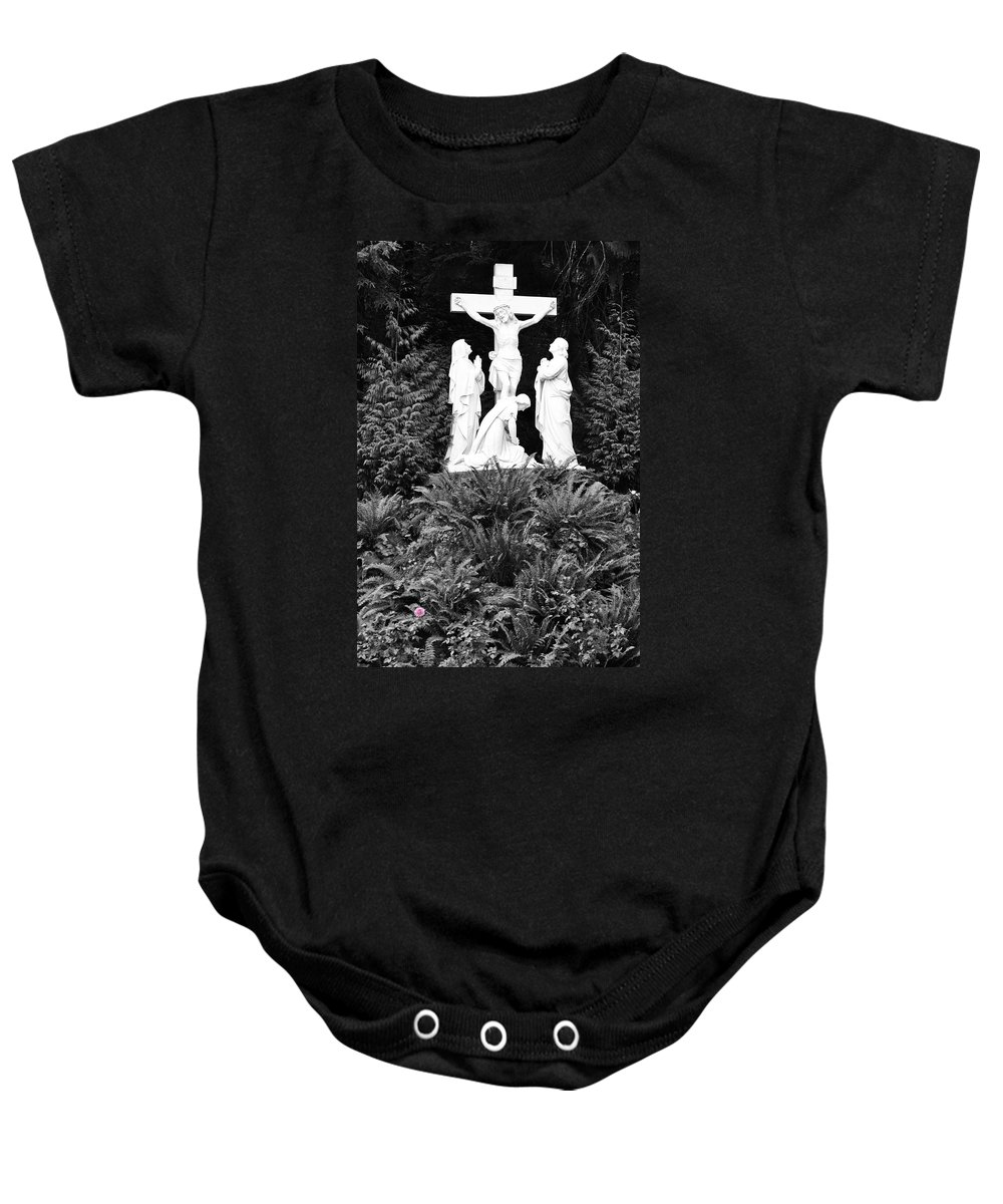 Portland Baby Onesie featuring the photograph The Grotto - Calvary Scene - Pink Flower by Image Takers Photography LLC - Carol Haddon