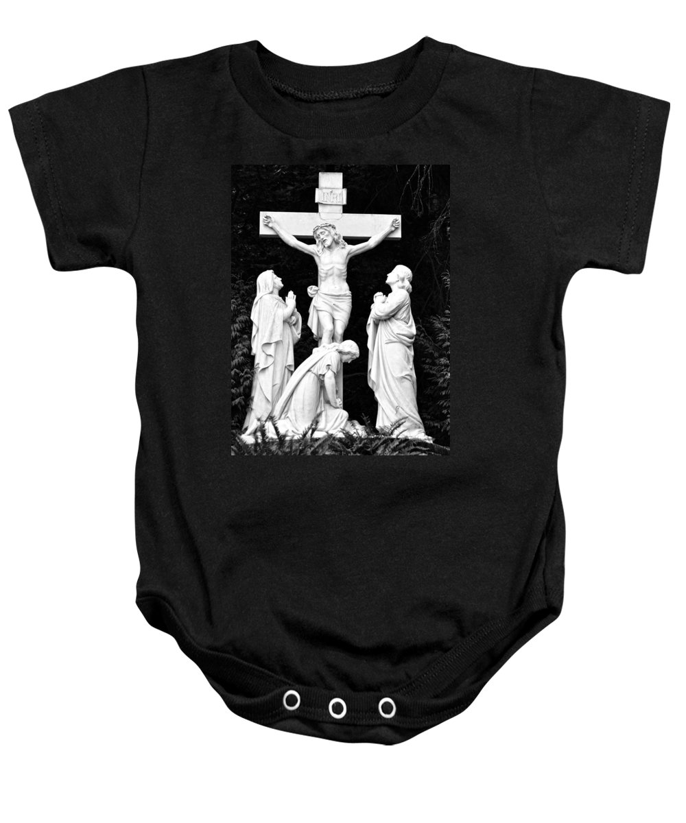 Portland Baby Onesie featuring the photograph The Grotto - Calvary Scene by Image Takers Photography LLC Carol Haddon