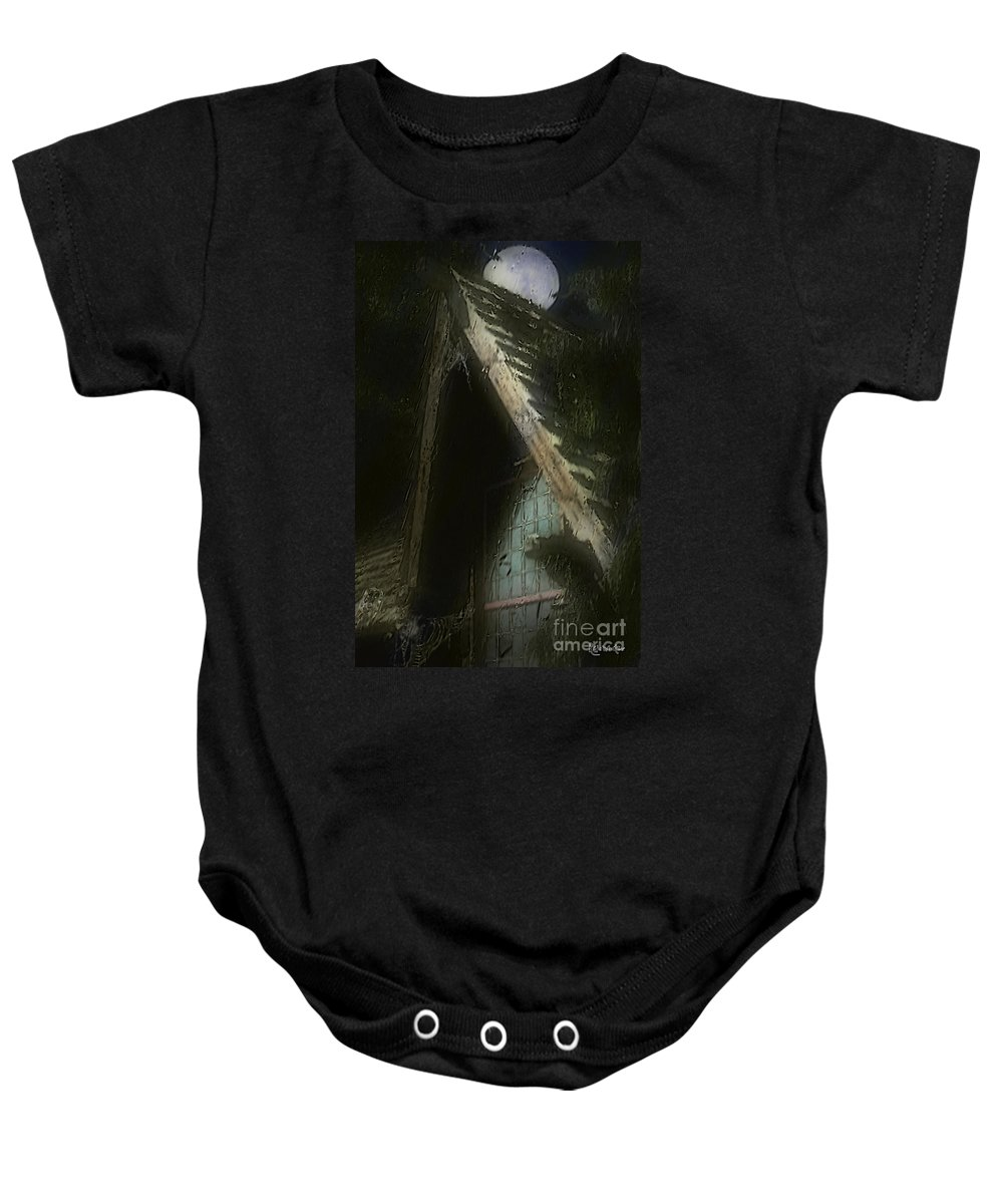 House Baby Onesie featuring the painting The Haunted Gable by RC DeWinter