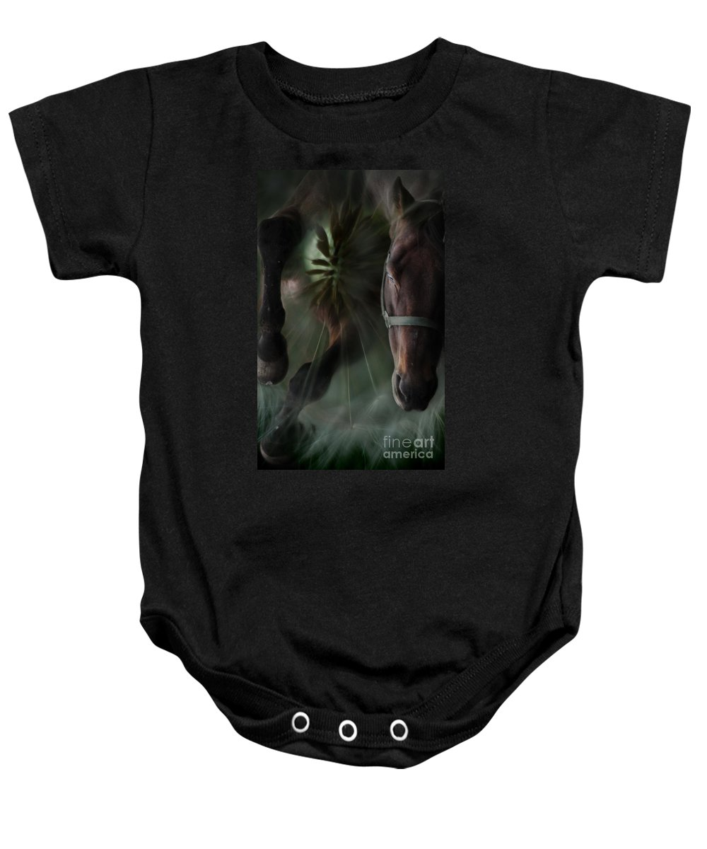 Abstract Baby Onesie featuring the photograph The Horse And The Dandelion by Angel Ciesniarska