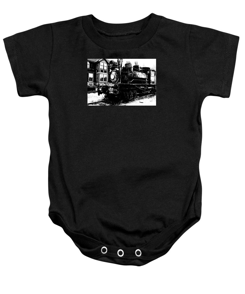 The Hurricane Express Homage 19th Century Locomotive Ghost Town Nevada City Montana Mascot Serial John Wayne Charles King Black And White High Contrast Rr Station Baby Onesie featuring the photograph The Hurricane Express Homage 1932 19th Century Locomotive Ghost Town Nevada City Montana by David Lee Guss