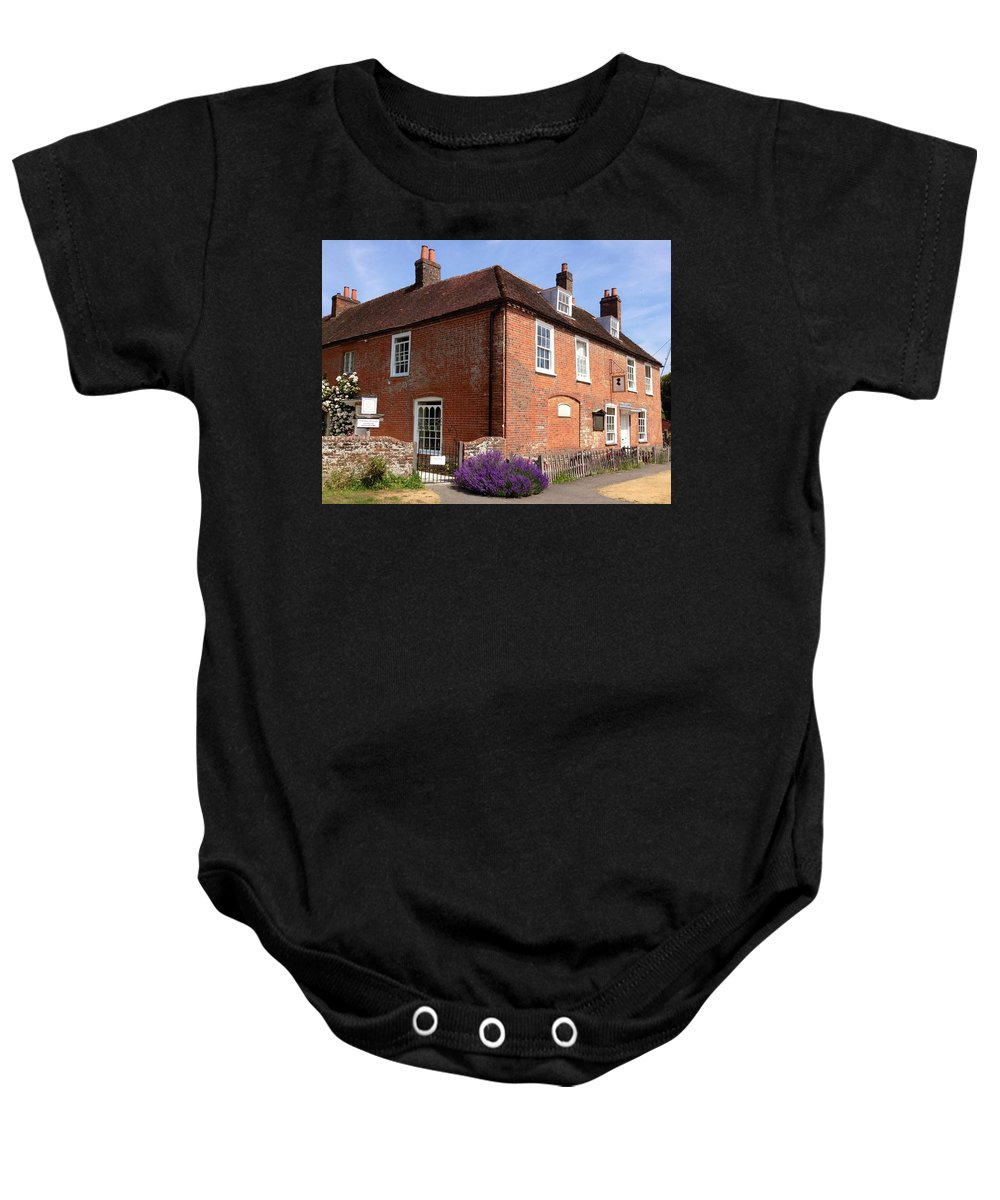 Jane Austen Baby Onesie featuring the photograph The Jane Austen Home Chawton England by Lois Ivancin Tavaf