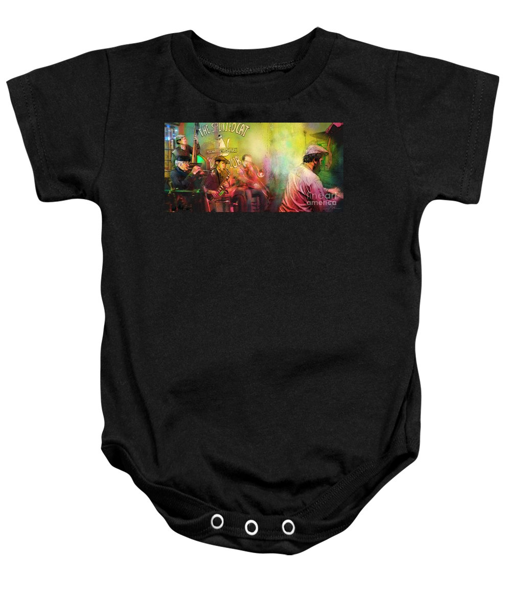 Music Baby Onesie featuring the painting The Jazz Vipers In New Orleans 03 by Miki De Goodaboom