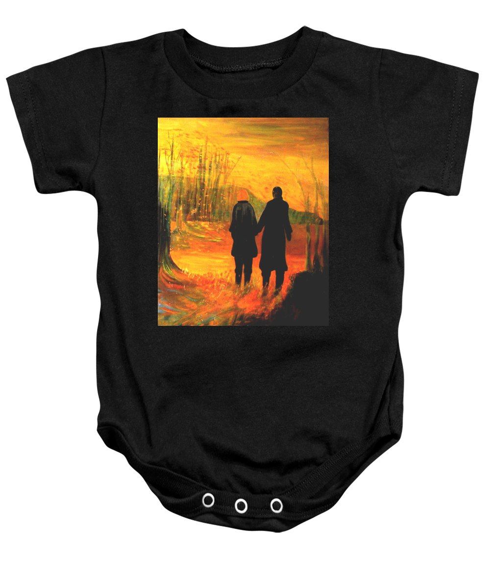 Partners Baby Onesie featuring the painting The Journey by Carolyn LeGrand