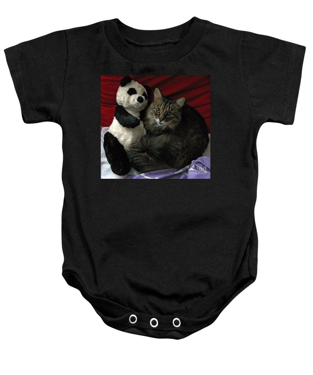 Pets Baby Onesie featuring the photograph The King Kitty And Panda 01 by Ausra Huntington nee Paulauskaite