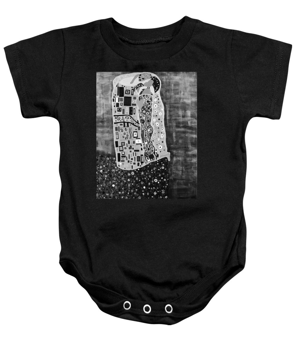 Romance Baby Onesie featuring the painting The Kiss Bw by Angelina Vick
