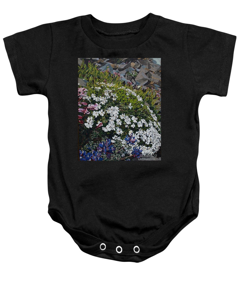 Landscape Baby Onesie featuring the mixed media The Last of Mt. Rainier by Leah Tomaino