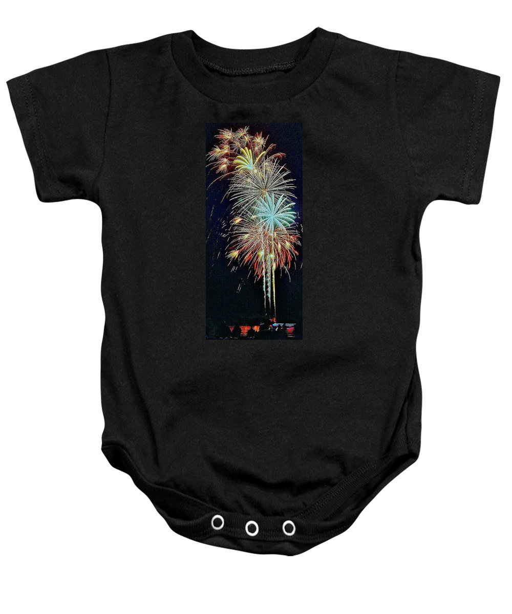 Fireworks Baby Onesie featuring the photograph The Last Shot... by Daniel Thompson