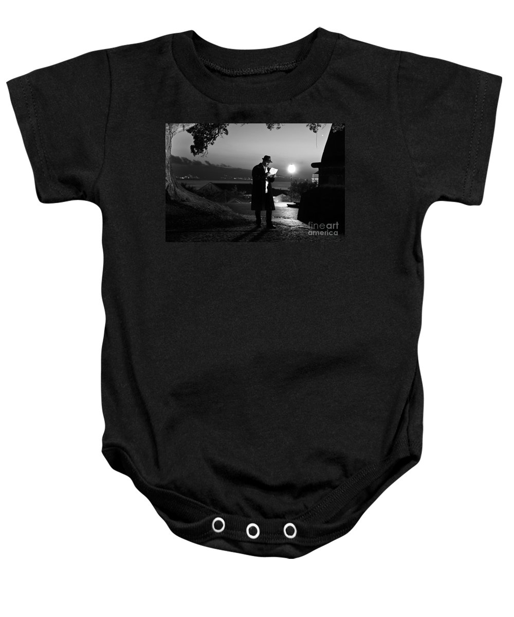 Black And White Photo Baby Onesie featuring the photograph The Letter by Marco Andrade