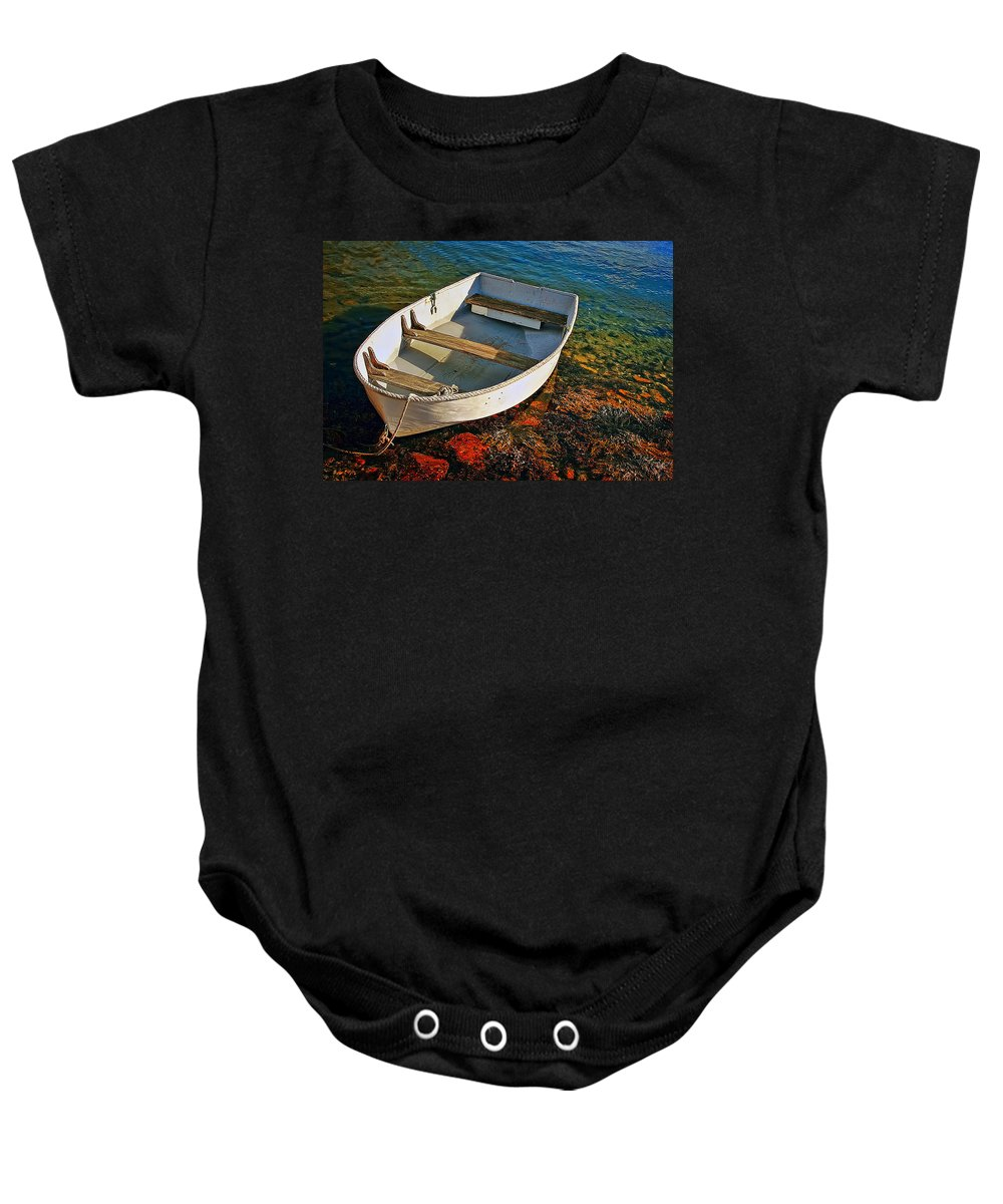 Transportation Baby Onesie featuring the photograph The Little Rowboat by Marcia Colelli