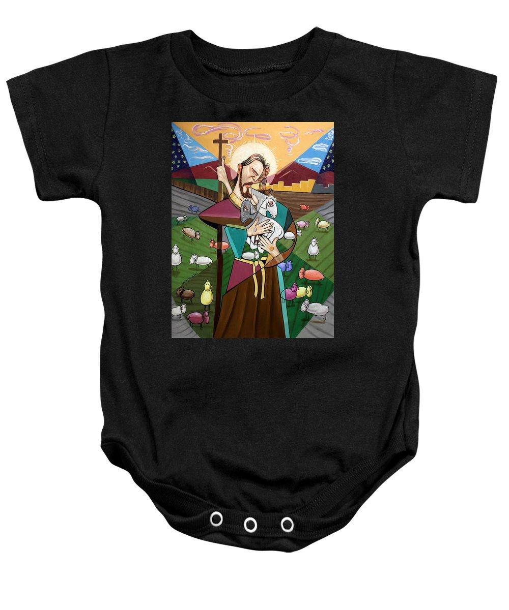 The Lord Is My Shepherd Baby Onesie featuring the painting The Lord Is My Shepherd by Anthony Falbo