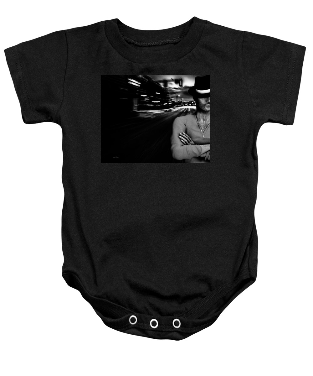 City Baby Onesie featuring the photograph The Man In The Hat Returns by Bob Orsillo