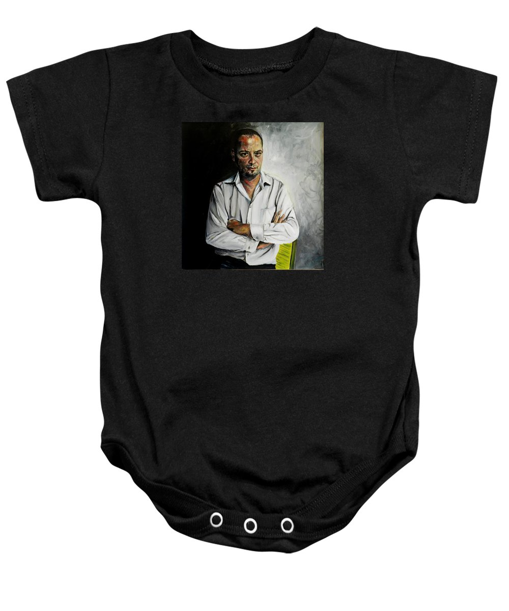 Marketing Baby Onesie featuring the painting The Marketing Man by Jolante Hesse
