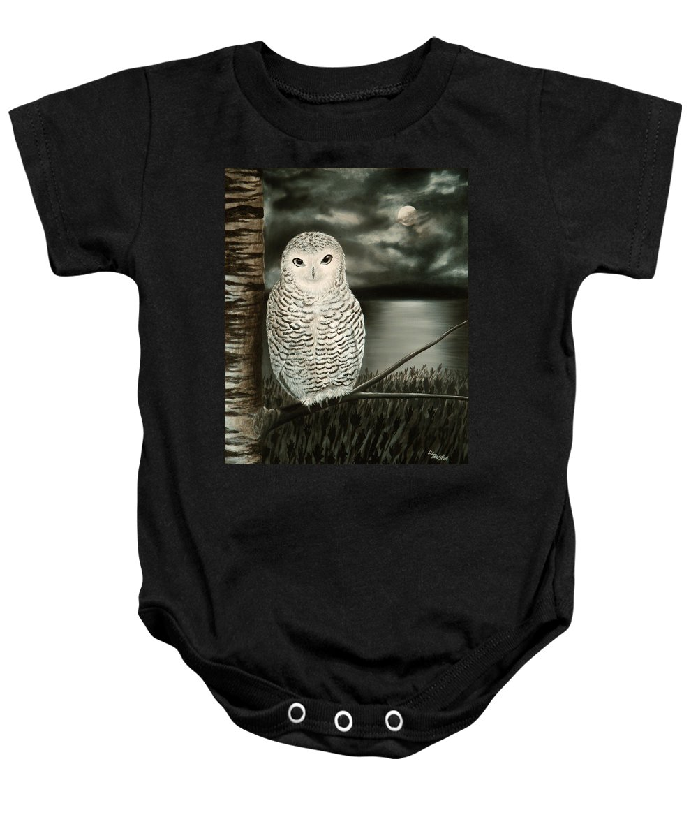 Owl Baby Onesie featuring the painting The Marsh At Night by Liz Boston