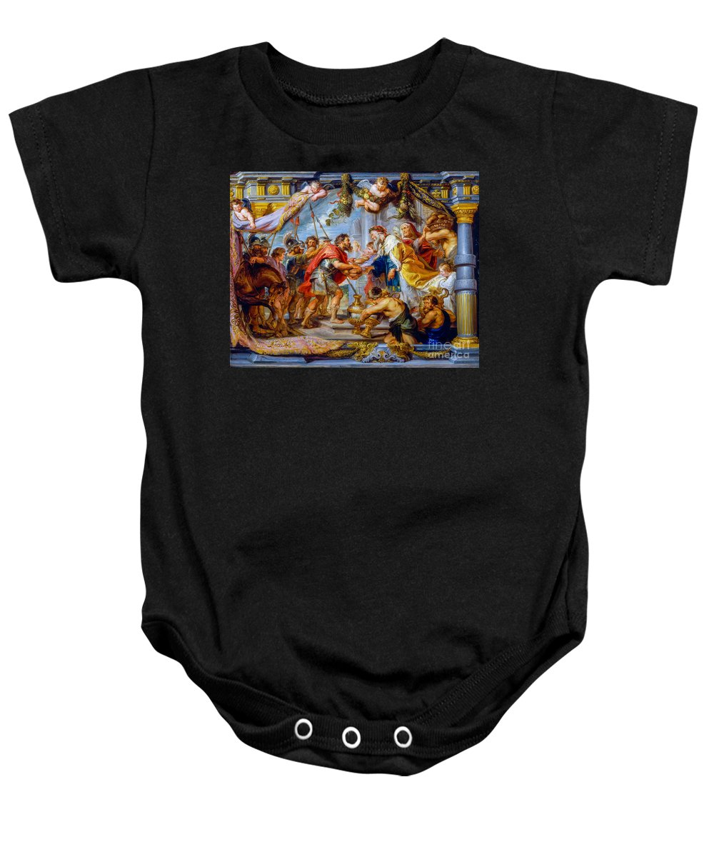 Meeting Baby Onesie featuring the painting The Meeting Of Abraham And Melchizedek by Viktor Birkus
