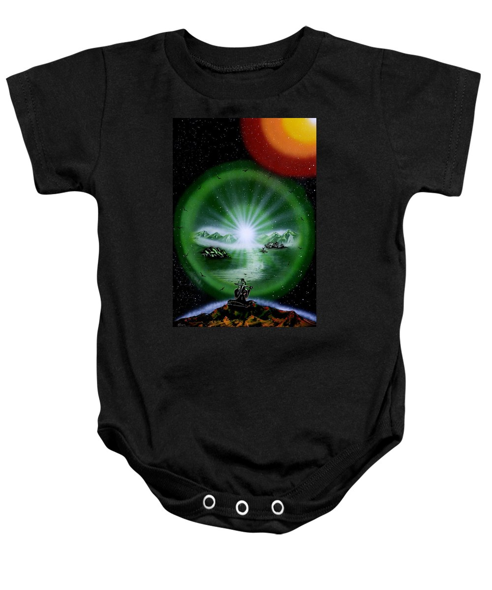 Baby Onesie featuring the painting The Music Of The Universe by Ronny Or Haklay