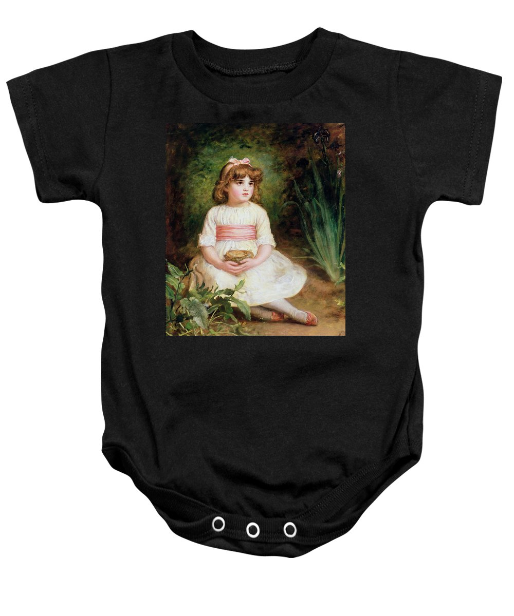 Victorian Baby Onesie featuring the photograph The Nest Oil On Canvas by Sir John Everett Millais