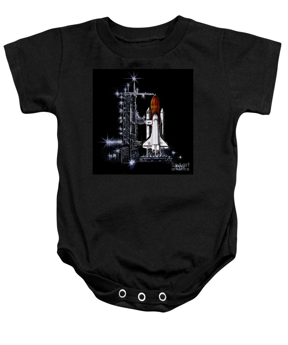 Shuttle Baby Onesie featuring the painting The Night Before by Murphy Elliott