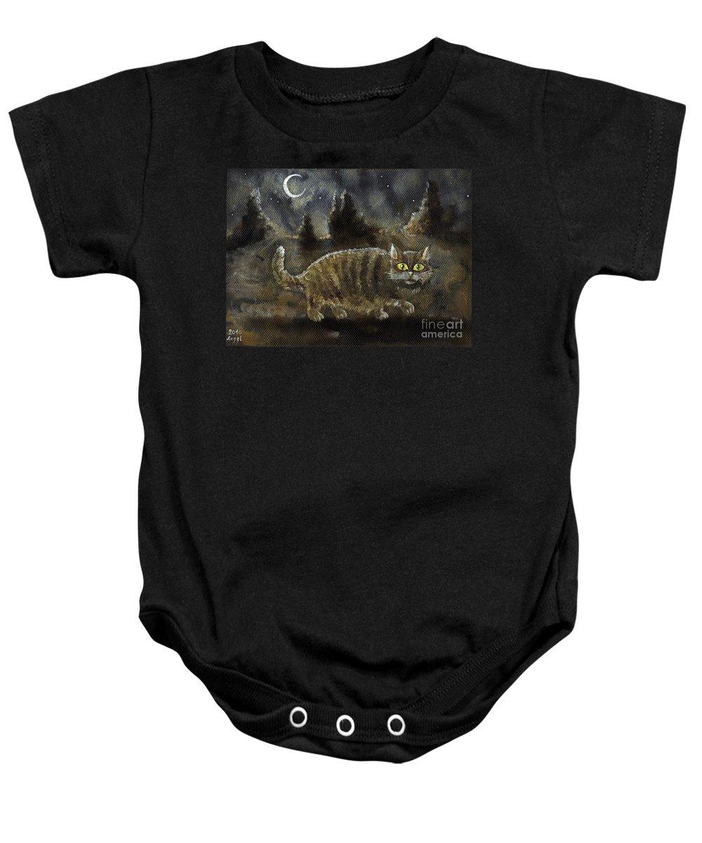 Cat Baby Onesie featuring the painting The Night Stalker by Angel Ciesniarska