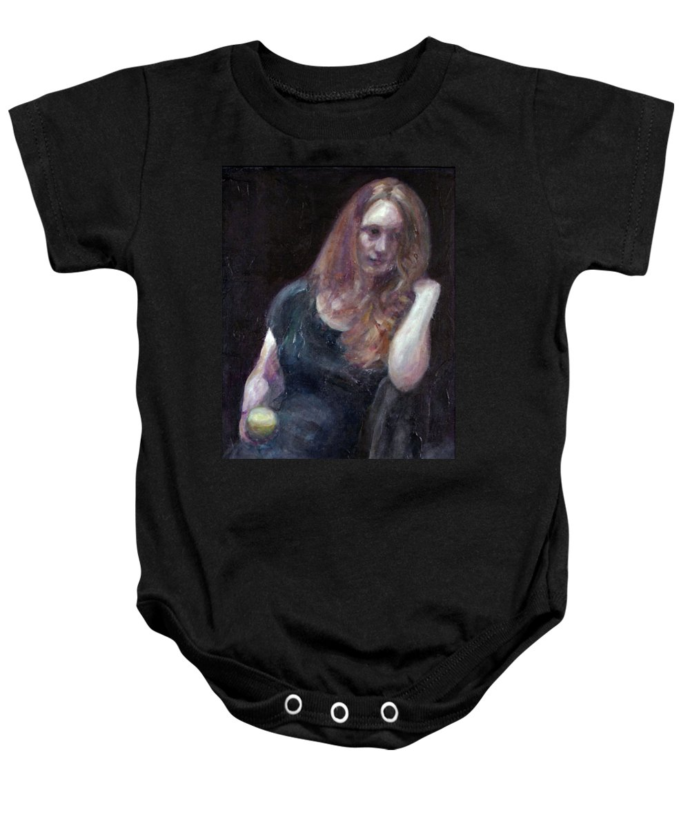 Portrait Baby Onesie featuring the painting The Offering - Sale On Original Painting - Framed by Quin Sweetman