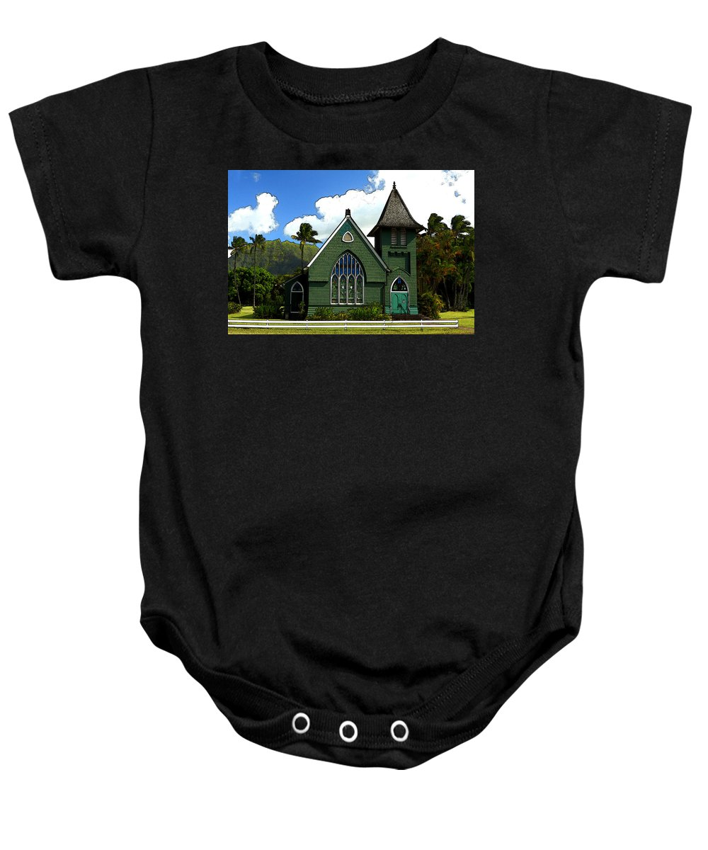 Historical Baby Onesie featuring the photograph The Old Church In Hanalei by James Eddy