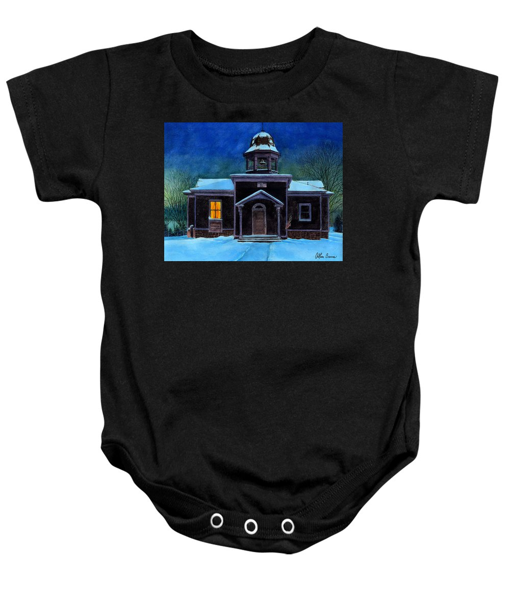Landscape Baby Onesie featuring the painting The Old School House by Arthur Barnes