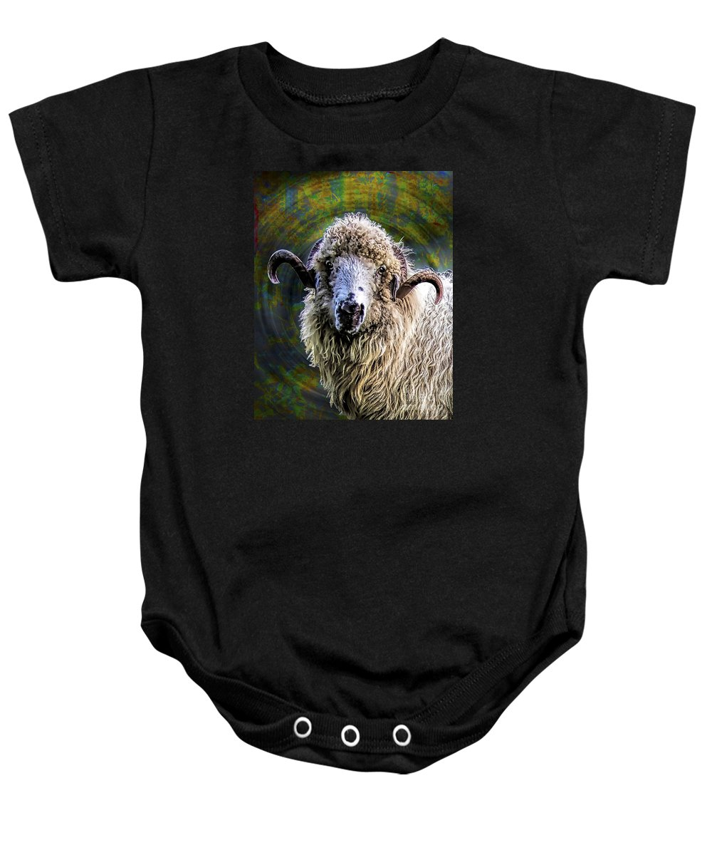 Sheep Baby Onesie featuring the painting The One by GabeZ Art